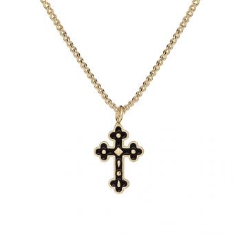 Naszyjnik TRENDY srebrny pozłacany z krzyżykiem