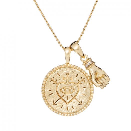 Naszyjnik ASTRO srebrny pozłacany z monetą i ręką