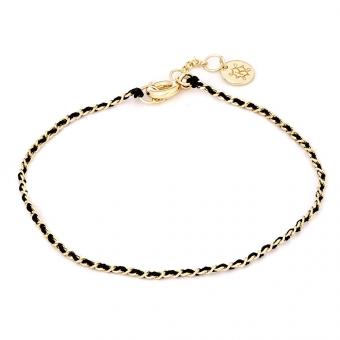 Bransoletka LUCKY srebrna pozłacana z czarnym sznurkiem