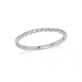Pierścionek TRENDY srebrny z serduszkami