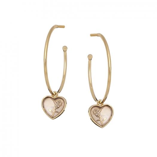 Kolczyki ROSALIE srebrne pozłacane z masą perłową i sercem