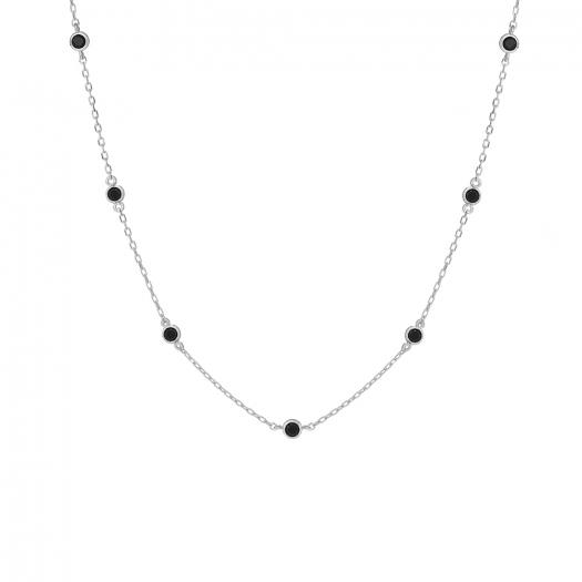 Naszyjnik OVAL srebrny z czarnymi cyrkoniami
