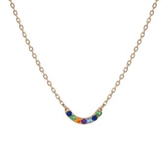 Naszyjnik IRIS srebrny pozłacany z kolorowymi cyrkoniami