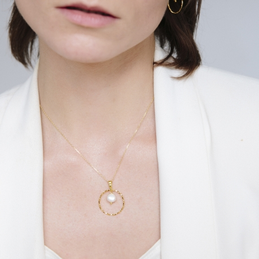 Naszyjnik ARIEL srebrny pozłacany z perłą