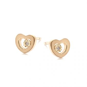 Kolczyki DIAMONDS złote 585 z brylantem i serduszkiem