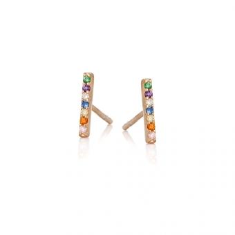 Kolczyki IRIS srebrne pozłacane z kolorowymi cyrkoniami