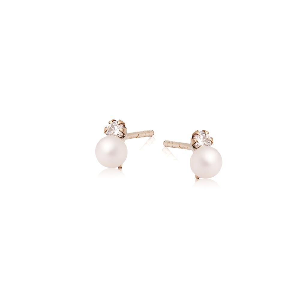 Kolczyki DOLCE VITA złote z perłami 3,5 mm