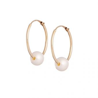 Kolczyki DOLCE VITA złote koła 14 mm z perłami 5 mm