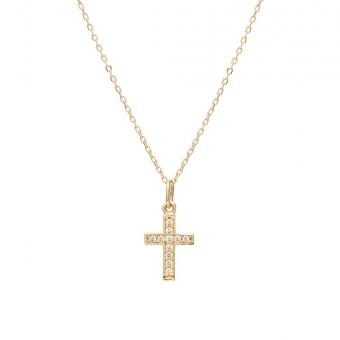 Naszyjnik MINI złoty z krzyżykiem i cyrkoniami