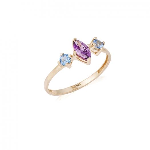 Pierścionek ROYAL złoty z kolorowymi kryształami