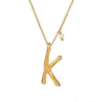 Naszyjnik Ania kruk x Pozerki srebrny pozłacany z literą K