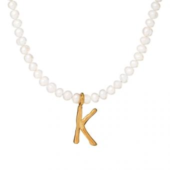 Choker ARIEL srebrny pozłacany z naturalnymi perłami i literą K
