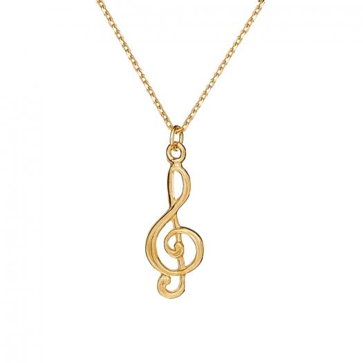 Naszyjnik HOBBY srebrny pozłacany z kluczem wiolinowym