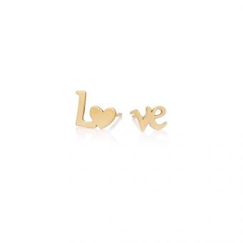 Kolczyki ROMEO I JULIA srebrne pozłacane LOVE