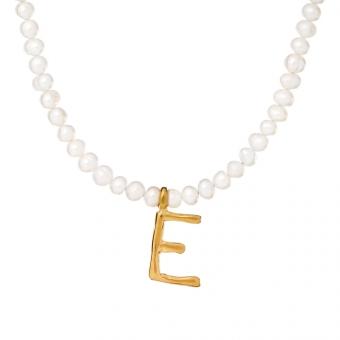 Choker Ania kruk x Pozerki srebrny pozłacany z naturalnymi perłami i literą E
