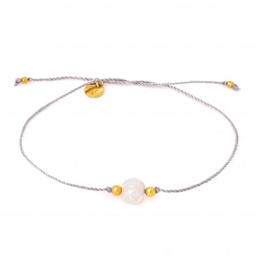Bransoletka sznurkowa LUCKY z naturalną perłą