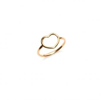 Pierścionek LOVE srebrny pozłacany z sercem