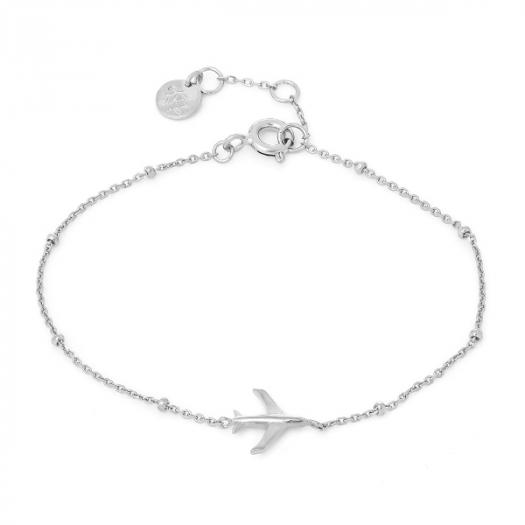 Bransoletka AZYMUT srebrna z samolotem