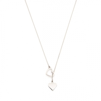 Naszyjnik ROMEO I JULIA srebrny z sercem i symbolem pik