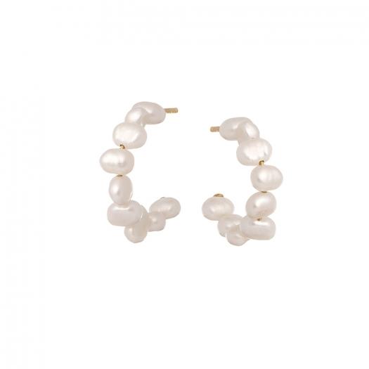Kolczyki ARIEL srebrne pozłacane z perłami
