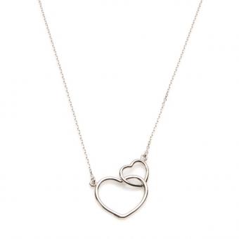 Naszyjnik LOVE srebrny z serduszkami