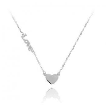 Naszyjnik ROMANTICA srebrny z serduszkiem i napisem love