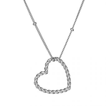 Naszyjnik LOVE srebrny z sercem