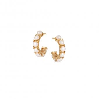 Kolczyki ARIEL srebrne pozłacane z naturalnymi perłami