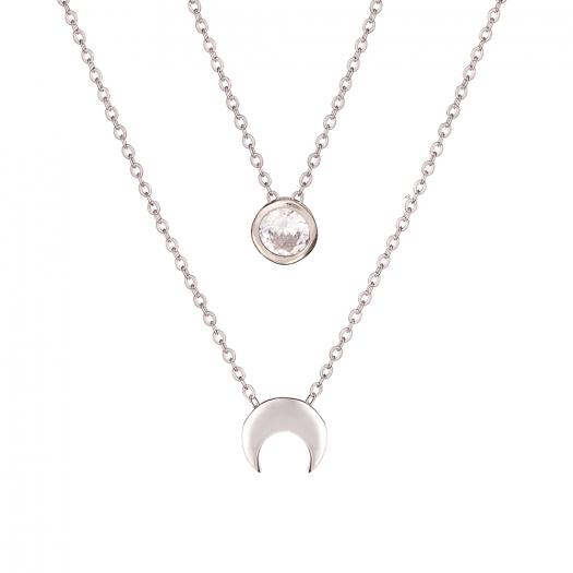 Naszyjnik podwójny BELIEVE srebrny z księżycem i cyrkonią