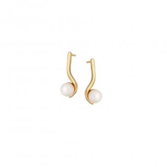 Kolczyki CLASSY srebrne pozłacane z naturalna perłą