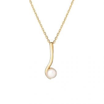 Naszyjnik CLASSY srebrny pozłacany z naturalną perłą