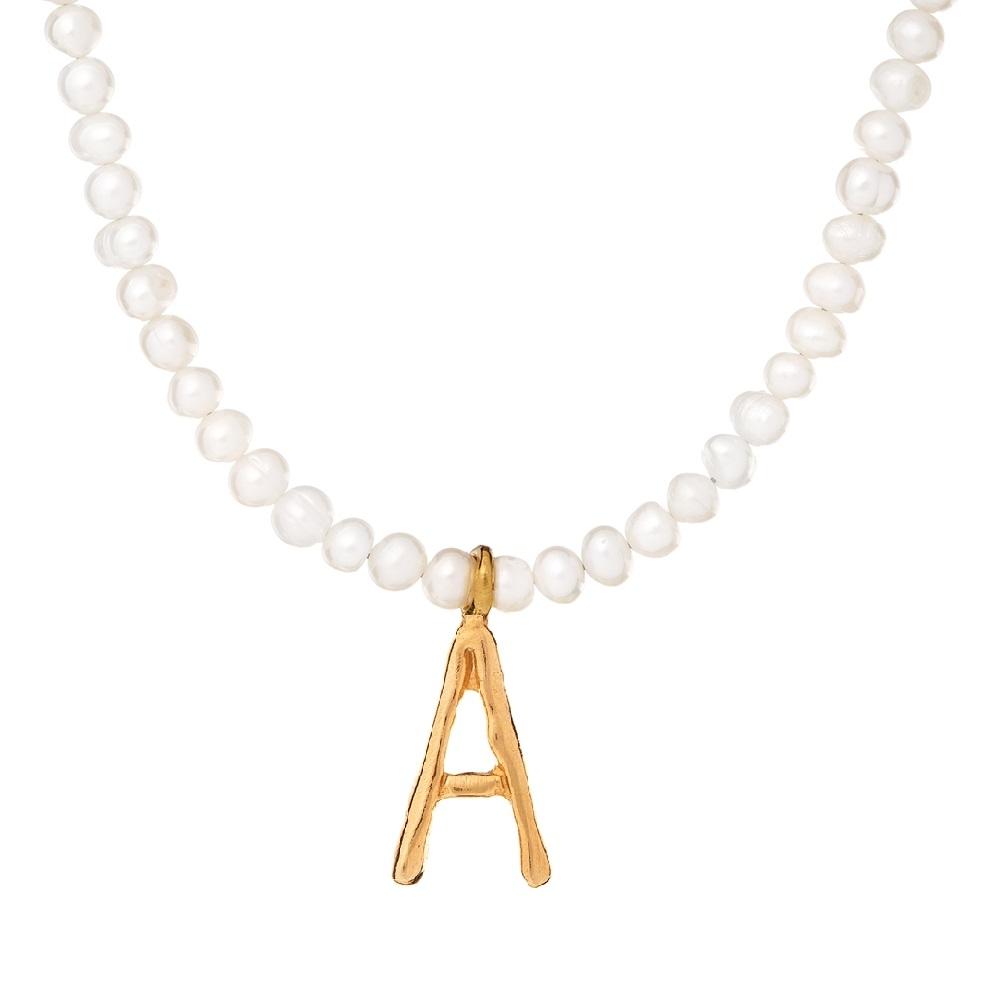 Naszyjnik ARIEL srebrny pozłacany z naturalnymi perłami i literą A