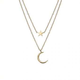 Naszyjnik GOLDIE złoty z księżycem i gwiazdką