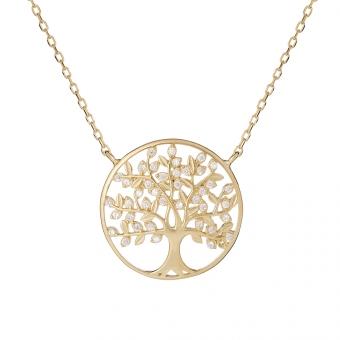 Naszyjnik BOHO srebrny pozłacany z drzewkiem