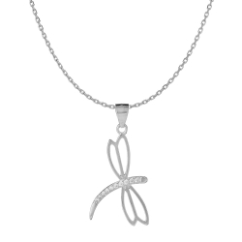 Naszyjnik GLAMOUR srebrny z ważką
