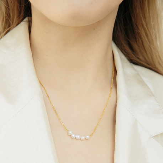 Naszyjnik ARIEL srebrny pozłacany z naturalnymi perłami