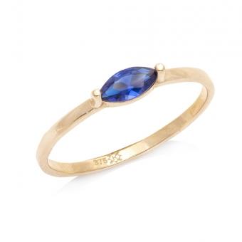 Pierścionek ROYAL złoty z niebieską cyrkonią