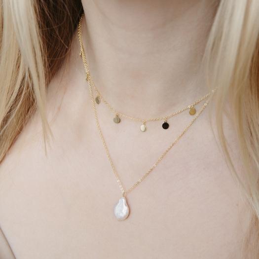 Podwójny naszyjnik ARIEL srebrny pozłacany z blaszkami i perłą
