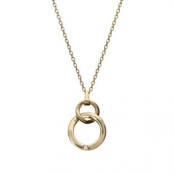 Naszyjnik DIAMONDS złoty 585 z brylantem i kółkami
