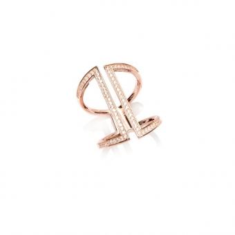 Pierścionek otwarty MONA srebrny pozłacany na różowo z cyrkoniami