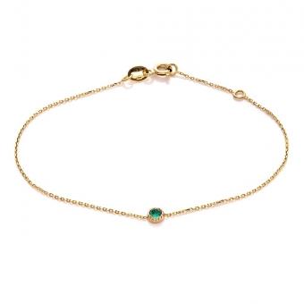 Bransoletka DOLCE VITA złota z zielonym kwarcem