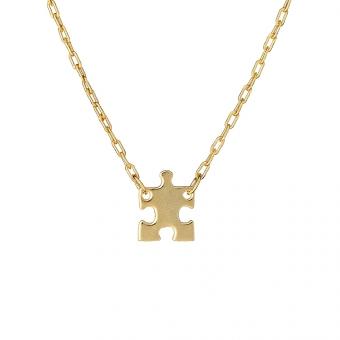 Naszyjnik BELIEVE srebrny pozłacany z puzzlem