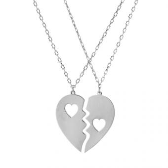 Naszyjnik ROMEO I JULIA srebrny z sercem