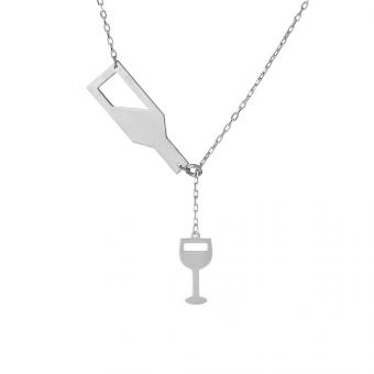 Naszyjnik HOBBY srebrny z butelką i kieliszkiem