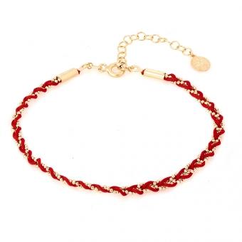 Bransoletka SUMMER srebrna pozłacana z czerwonym sznurkiem