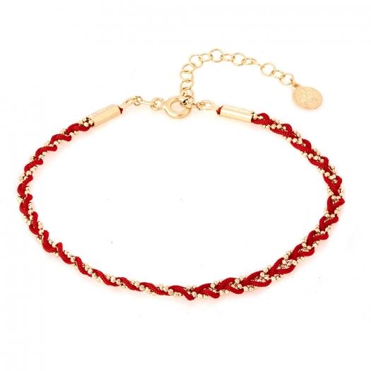Bransoletka MILOS srebrna pozłacana z czerwonym sznurkiem