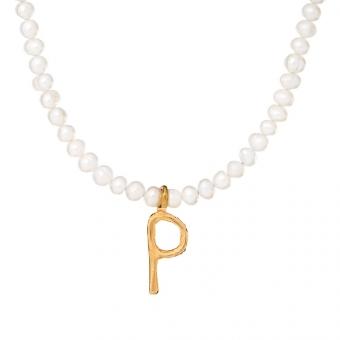Naszyjnik ARIEL srebrny pozłacany z naturalnymi perłami i literą P