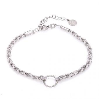 Bransoletka MILOS srebrna z szarym sznurkiem