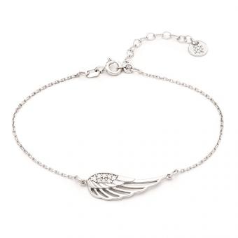 Bransoletka HIPPIE srebrna ze skrzydłem