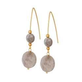 Kolczyki LARA srebrne pozłacane z labradorytem